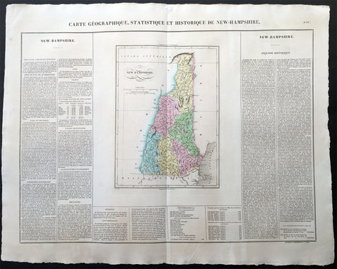 1825 Carey & Lea Buchon Large Antique Map of the State of New Hampshire, USA