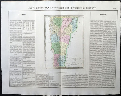 1825 Carey & Lea, Buchon Large Antique Map of the State of Vermont, USA