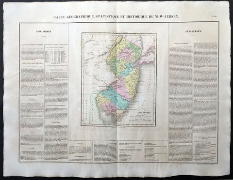 1825 Carey & Lea, Buchon Large Antique Map of the State of New Jersey, USA