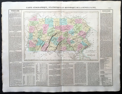 1825 Carey & Lea, Buchon Large Antique Map of the State of Pennsylvania, USA