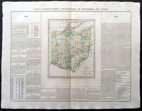 1825 Carey & Lea, Buchon Large Antique Map of the State of Ohio, USA