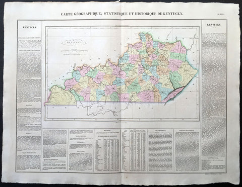 1825 Carey & Lea, Buchon Large Antique Map of the State of Kentucky, USA