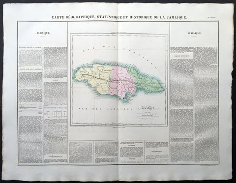 1825 Carey & Lea, Buchon Large Antique Map of the Island of Jamaica, Caribbean