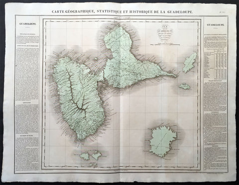 1825 Carey & Lea Buchon Large Map of the Island of Guadeloupe, Caribbean