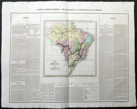 1825 Carey & Lea, Buchon Large Antique Map Brazil, South America