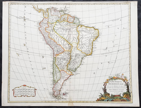 1783 Robert De Vaugondy Large Antique Map of South America - Beautiful