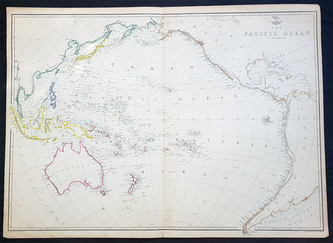 1860 Edward Weller Large Antique Map of The Pacific - Australia to California