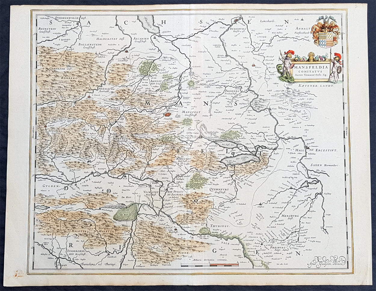 1638 Blaeu Large Old Antique Map of Mansfeld Sdharz Saxony Anhalt