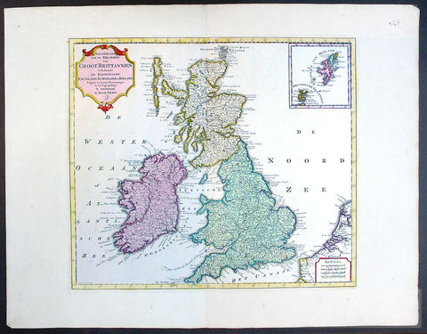 1750 Isaac Tirion Large Antique Map of Great Britain & Ireland