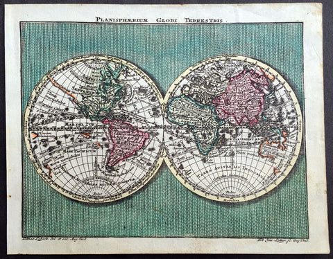 1762 Lotter Twin Hemisphere Antique World Map