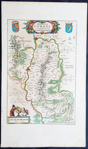 1658 Blaeu Antique Map of the Udrone region of Kilkenny in Carlow, Ireland