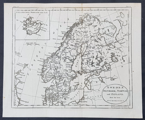 1770 John Cary Original Antique Map Sweden, Denmark, Norway, Finland & Iceland