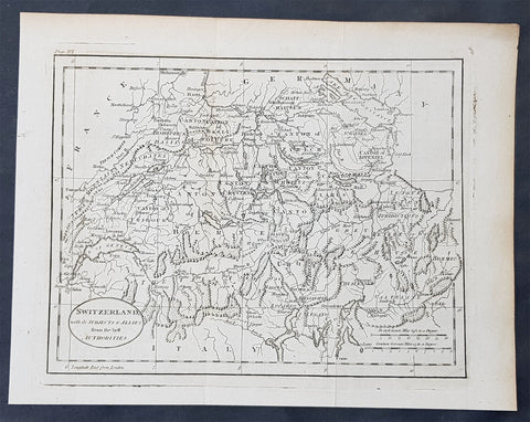 1770 John Cary Original Antique Map of Switzerland