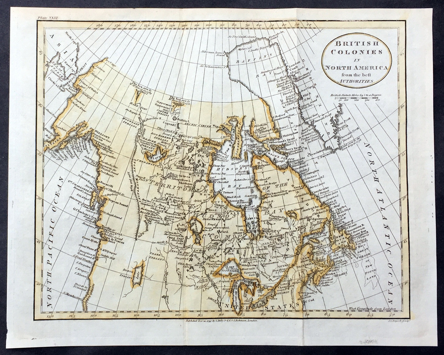 Lakes Of Canada Map.1797 John Russell Old Antique Map Of The Great Lakes Canada North America