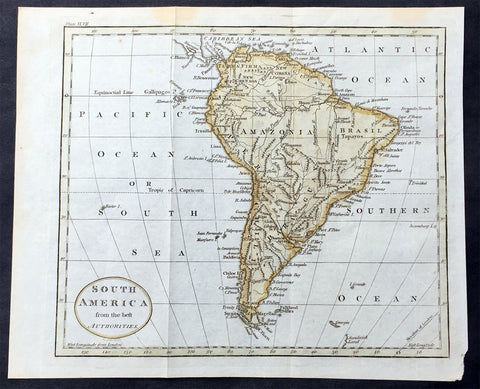 1797 John Russell Old, Antique Map of South America