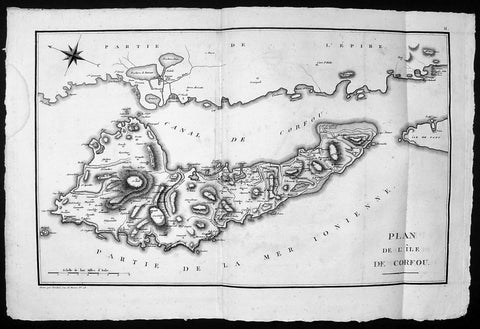 1785 Lechevalier Large Antique Map of the Island of Corfu, Greece