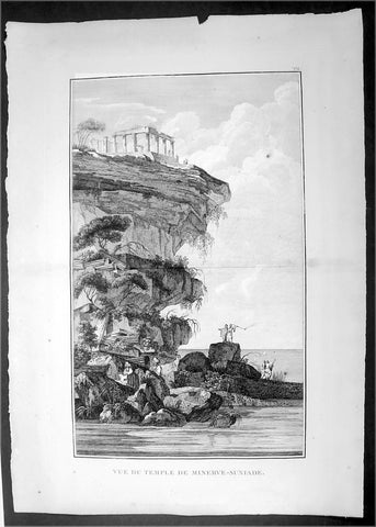 1802 Lechevalier Large Antique Print of Poseidon's Temple on Cape Sounion Greece
