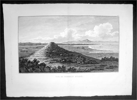 1802 J B Lechevalier Antique Print View of Tomb of Ajax Troy in Troad, NW Turkey