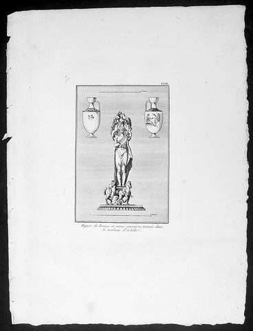 1802 J B Lechevalier Antique Print Bronze Figure, Vases in Achilles Tomb Turkey