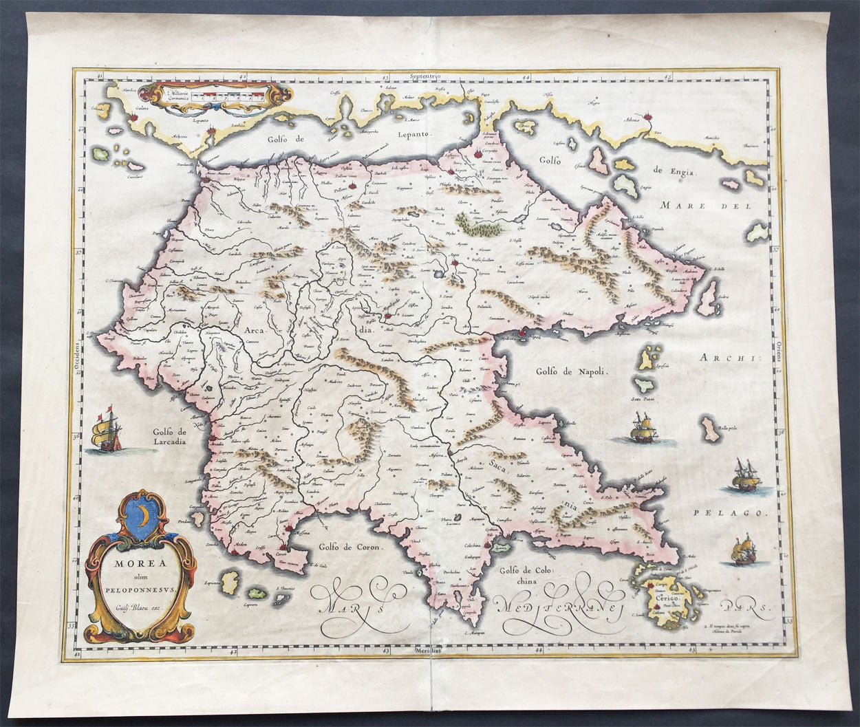 1640 Blaeu Antique Map of the Peloponnese or Morea Peninsula Greece