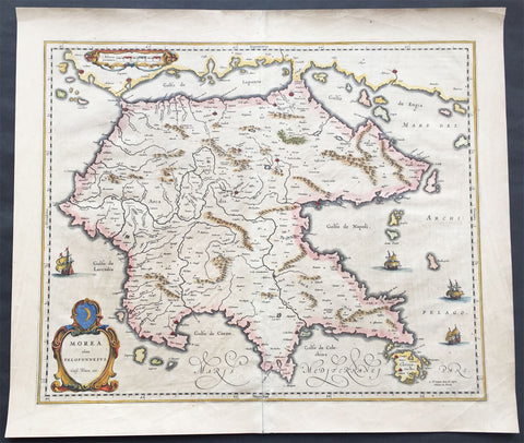 1640 Blaeu Antique Map of the Peloponnese or Morea Peninsula, Greece