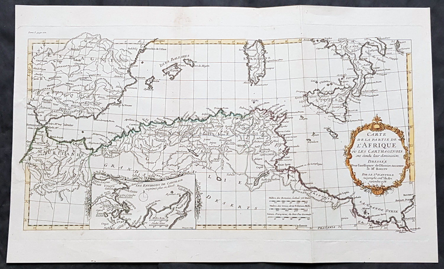 1738 J B D Anville Antique Map Gulf Of North Africa Spain Sardinia
