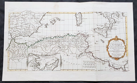 1738 D Anville Large Antique Map Western Mediterranean North Africa Spain Sicily