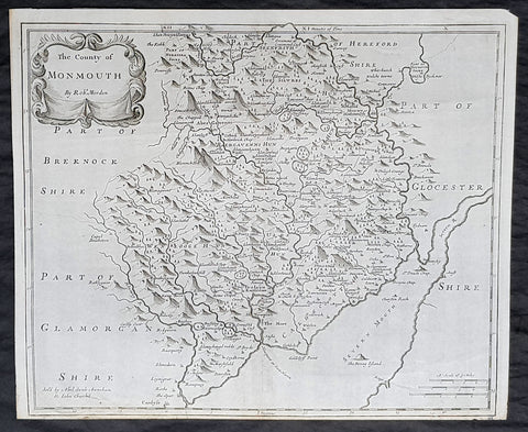 1722 Robert Morden Antique Map of the Welsh County of Monmouth