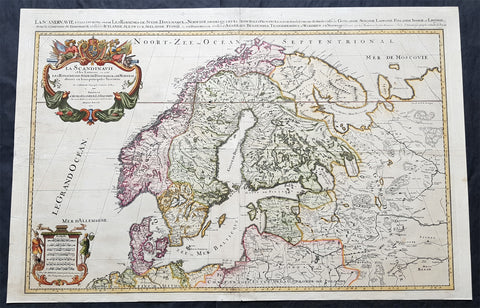 1696 Jaillot Large Antique Map Norway Sweden Finland Denmark - Latvia & Estonia