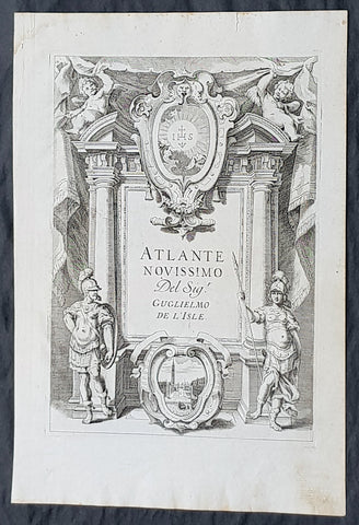 1740 Guillaume Delisle Original Antique Atlas Title Page for Atlante Novissimo