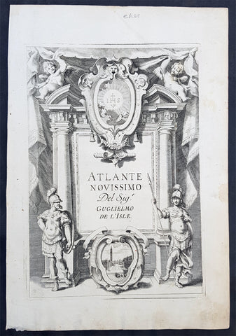 1740 Guillaume Delisle Original Antique Atlas Title Page of Atlante Novissimo