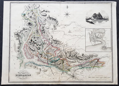 1841 Johnston Large Antique Map The County of Dumbarton, Dunbartonshire Scotland