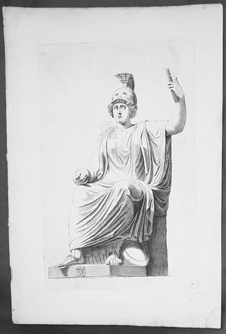 18th Century Antique Wood-Block Antique Print Bellona The Roman Goddess of War