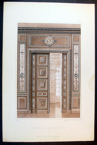 1889 Ernst Wasmuth Antique Print Lithograph of Neo-classical European Decoration