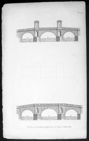 1757 Abraham Swan Antique Architect Print of Ornate 18th century Bridges