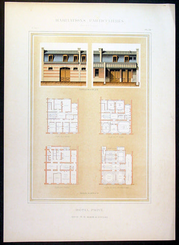 1888 Paul Planat Lithograph Antique Hotel Architectural Print, France