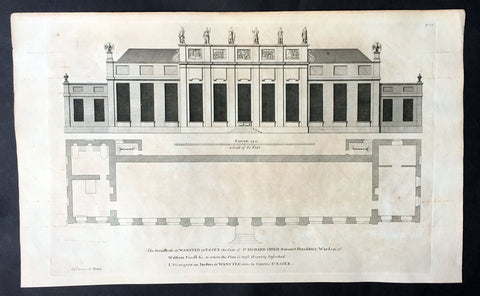 1725 Campbell Antique Architectural Print of Greenhouse at Wanstead Manor Essex