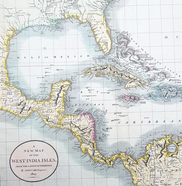 New Map Of America.1803 John Cary Large Antique Map North America United States Mexico Caribbean