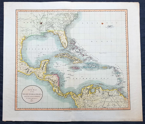 1803 John Cary Large Antique Map North America, United States, Mexico, Caribbean