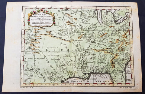 1757 Bellin Original Antique Map of Colonial States to New Mexico, North America