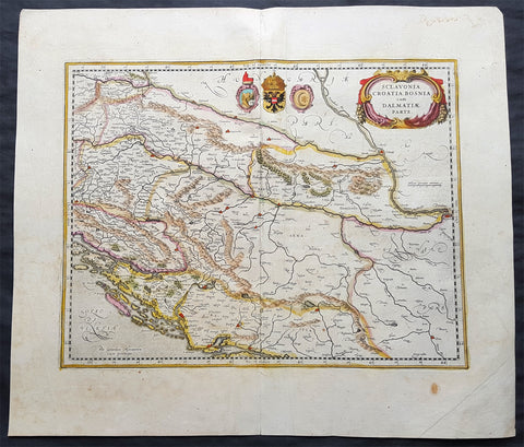 1639 Jansson & Mercator Original Antique Map Slovenia, Croatia, Bosnia, Dalmatia