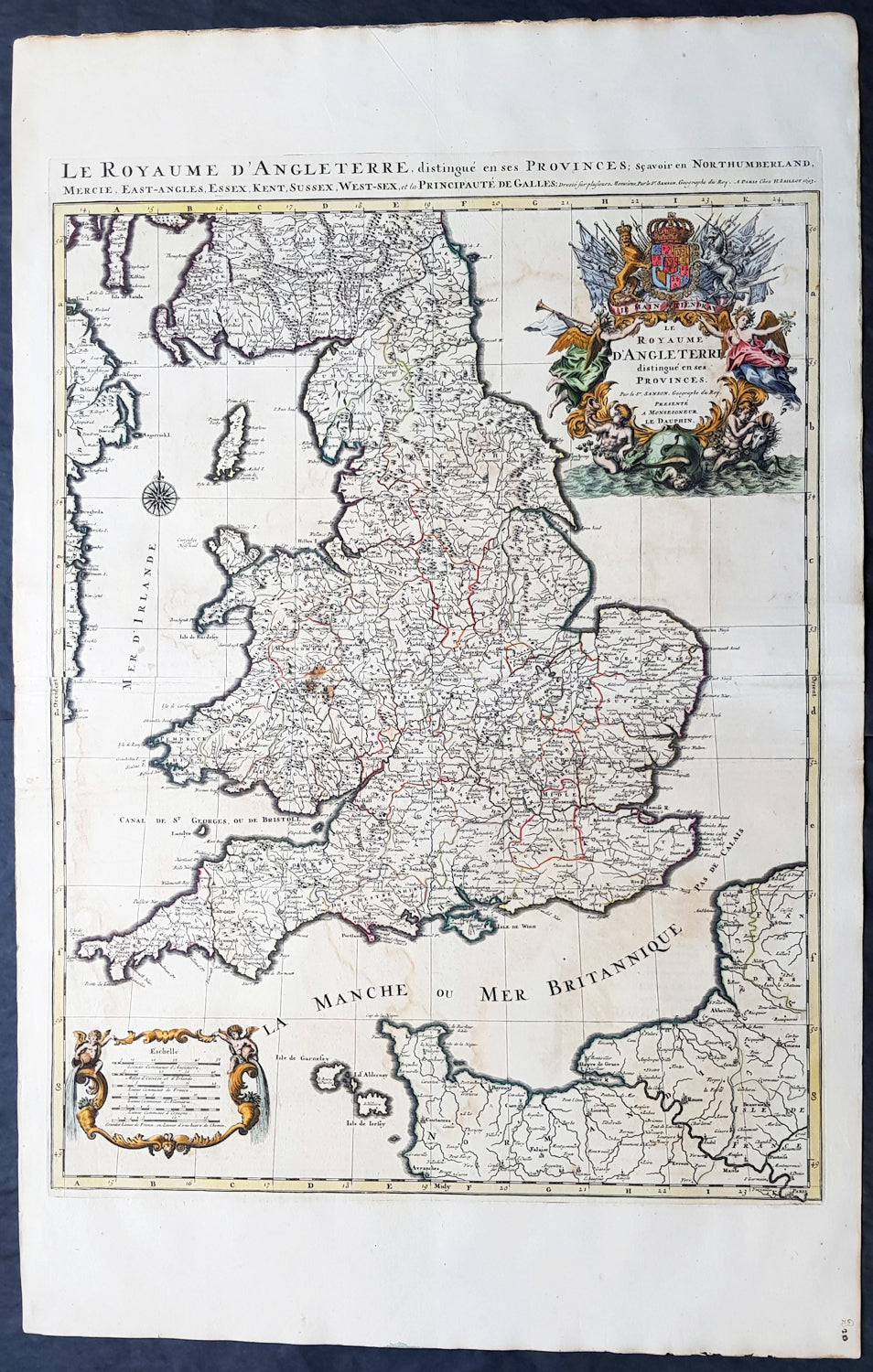 Large Map Of England And Wales.1693 Alexis Jaillot Large 1st Edition Antique Map Of England