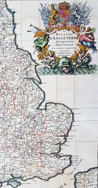 Map Of England Provinces.1693 Alexis Jaillot Large 1st Edition Antique Map Of England Wales