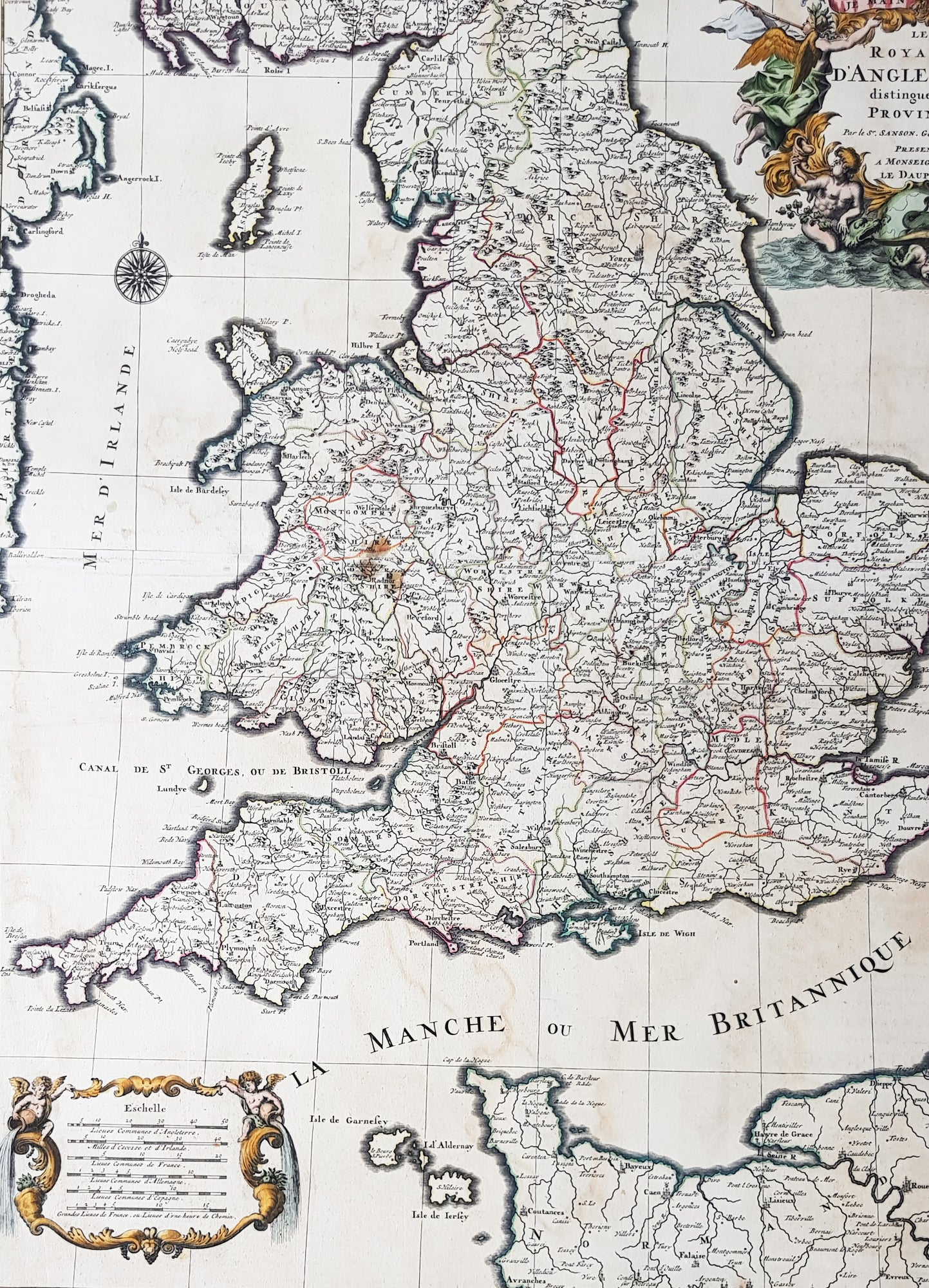 Large Map Of England.1693 Alexis Jaillot Large 1st Edition Antique Map Of England Wales
