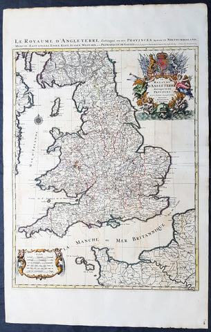 A H Jaillot Large Original 1693 1st Edition Antique Map of England & Wales