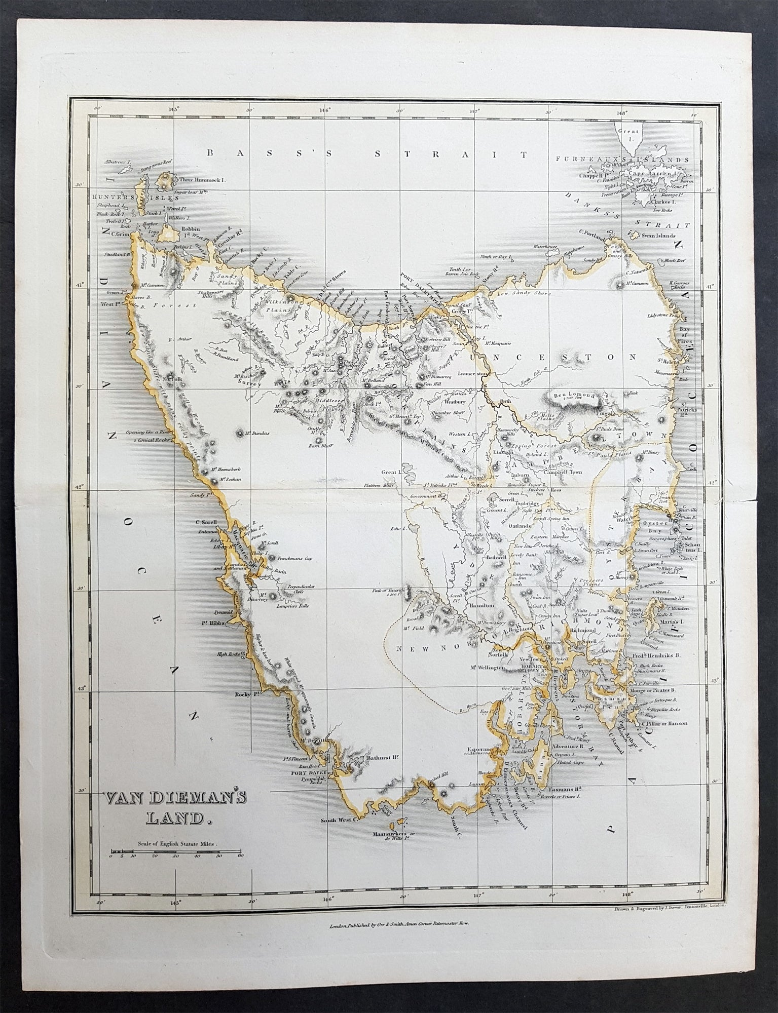 Map Of Australia And Tasmania.1837 John Dower Original Antique Map Of Van Diemens Land Tasmania Australia