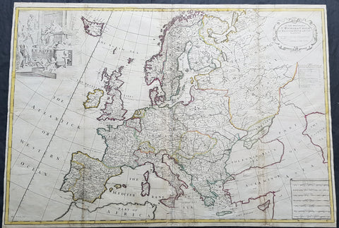 1712 John Senex Large Antique Map of Europe - Large Poland, Russia, Italy, Spain