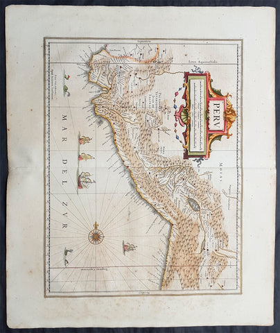 1639 Jan Jansson Original Antique Map of Peru, South America