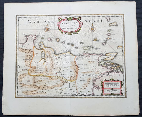 1639 Jansson Scarce Original Antique Map of Venezuela, A. de Berrio & W Raleigh