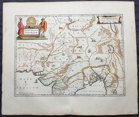 1639 Jansson Original Antique Map The Mughal or Mogul Empire India, Tibet, Nepal